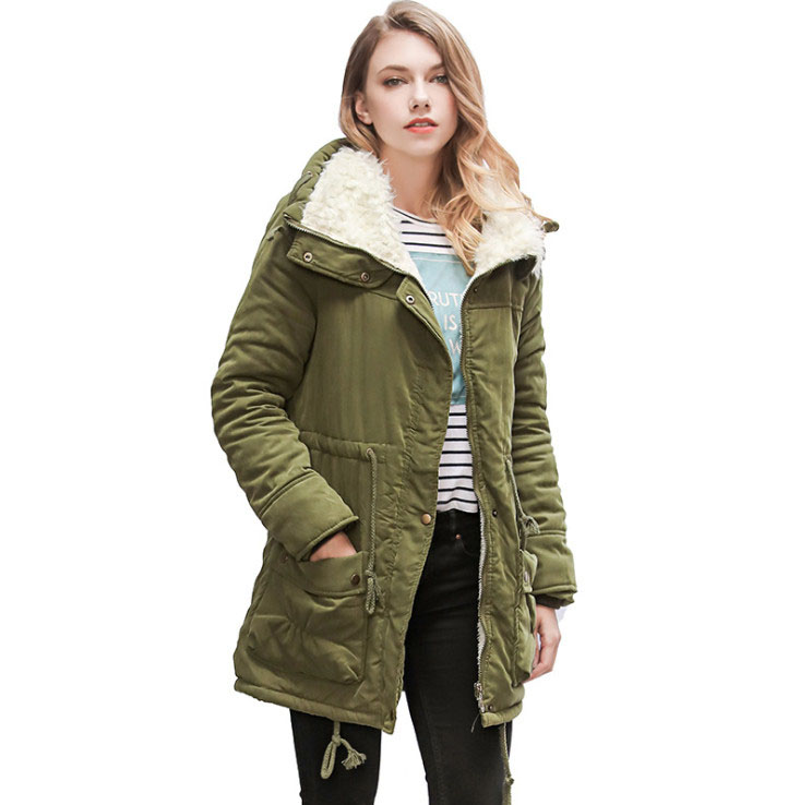 Manteau khaki navy Black Épais Femelle Style Casual Coton peach À Pink long Capuchon Parkas orange Green pink blue Survêtement Veste Et Chaud D'hiver army Moyen Blue red Femmes yellow rwapxqrR