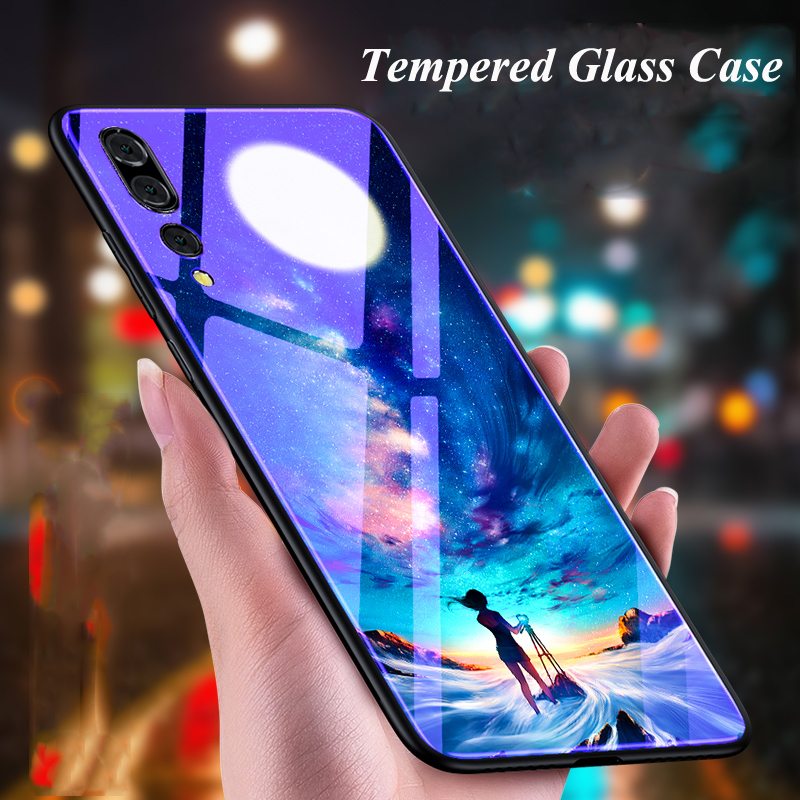 Tempered Glass Cases for Huawei P20 P20 Pro Case Blue Light Moon Stars Sky Hard Back Cover for Huawei P 20 P20pro P 20Pro Bumper