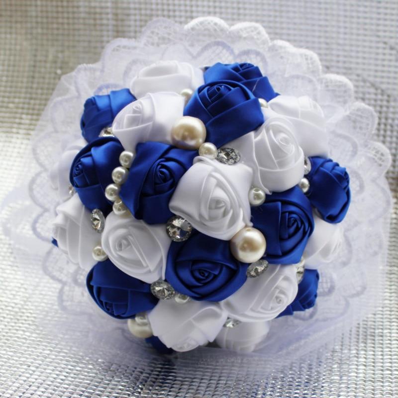 Királyi kék fehér esküvői virágok Kristály menyasszonyi - Ünnepi és party kellékek