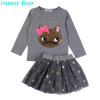 Humor Bear NEW Autumn Baby Girl Clothes Girls Clothing Sets Cartoon Sequins Cat Long Sleeve Stars