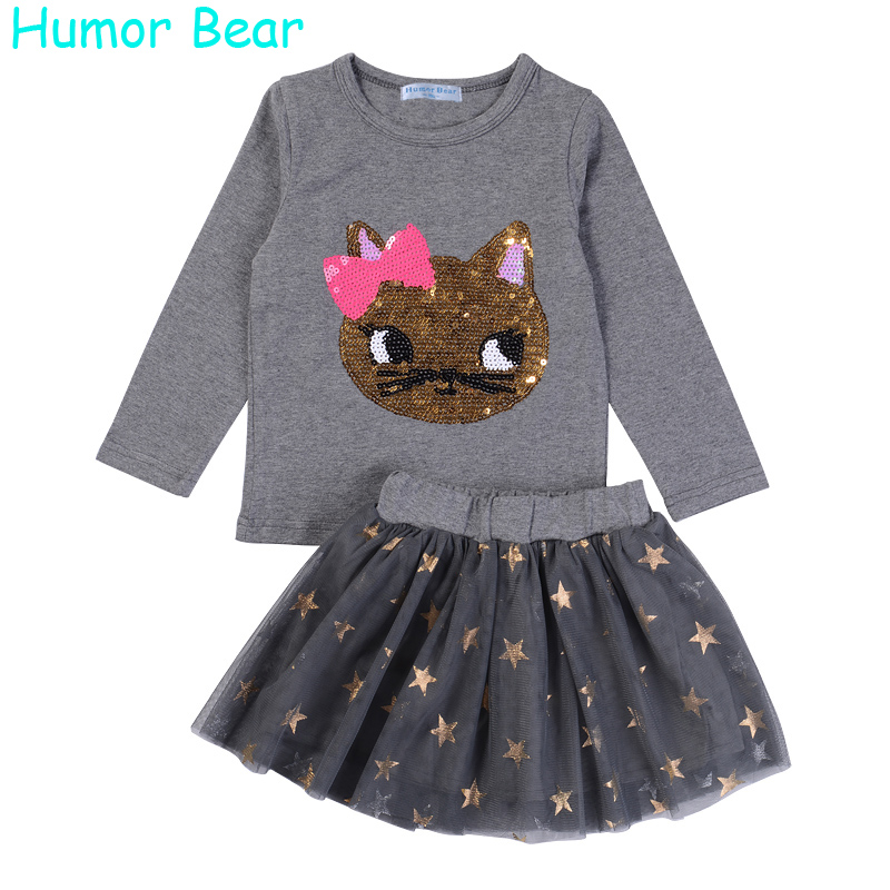 Humor Bear NEW Autumn Baby Girl Clothes Girls Clothing Sets Cartoon Sequins Cat Long Sleeve+Stars Skirt Casual 2PCS Girls Suits girls clothing sets 2015 autumn child casual long sleeve cat kitty cartoon t shirt