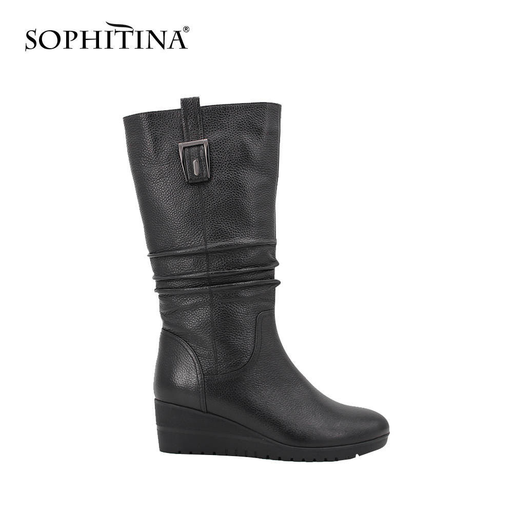 SOPHITINA Wool insole full genuine leather zipper boots Black Square toe wedges sexy Mid-Calf boots Handmade Fur Plush B027 genuine leather wedges sweet round toe pure color martins ladies boots chains mid calf gum rubber outsole insole increase