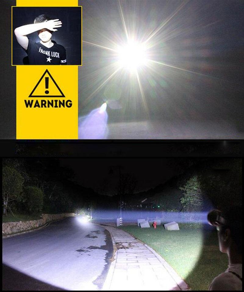 tocha luz frontale bateria lampe para pesca acampamento