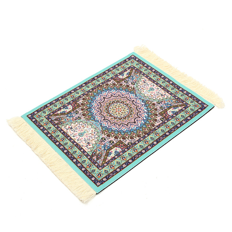 Mini Blue Cotton Persian Style Woven Rug Mouse Pad Carpet Mousemat With  Fringe For Home Decor