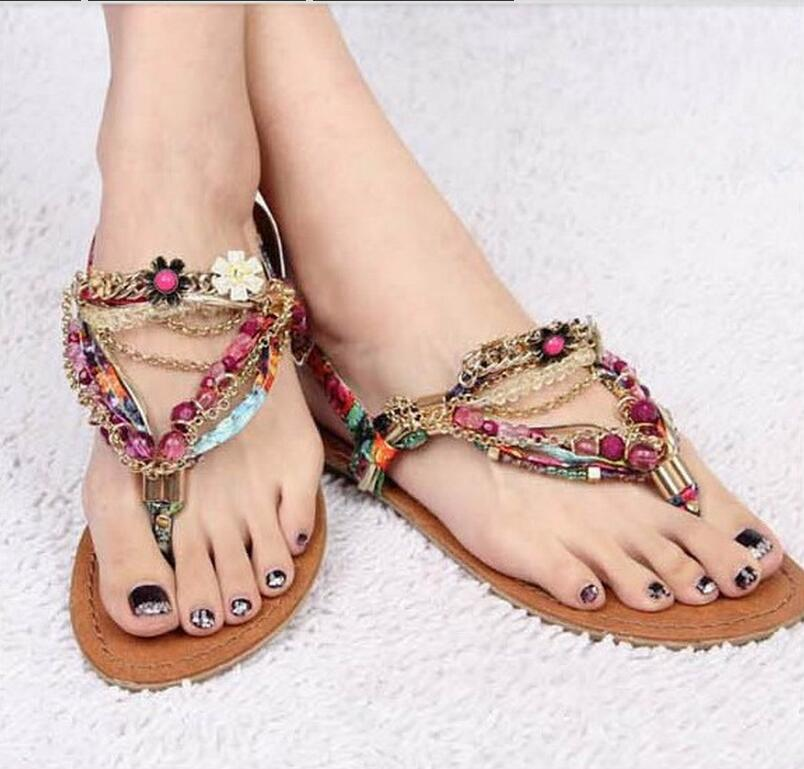 16fb341d9d0 Women s Sandals 2016 new Fashion casual sweet diamond beaded pinch flat  sandals bohemia sandals female sandals Purple-in Slippers from Shoes on ...