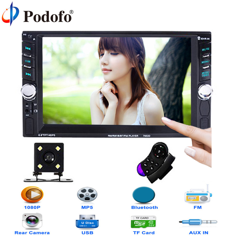 Podofo Car Audio Bluetooth Radio 2 Din 6.6 Touch Screen autoradio auto radio MP4 Player 12V Auto Support USB/TF/SD FM Aux Input 7inch 2 din hd car radio mp4 player with digital touch screen bluetooth usb tf fm dvr aux input support handsfree car charge gps