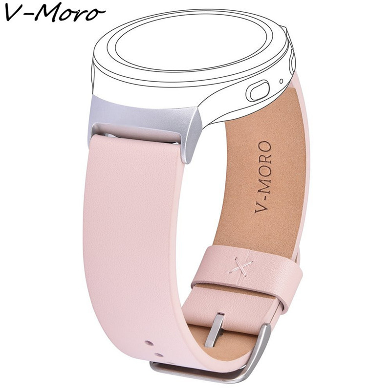 V-MORO Genuine Leather Watch Strap Gear S2 Band Wrist Band Replacement Matel Adapter For Samsung Gear S2 SM-R720 /SM-R730 Straps 2016 silicone rubber watch band for samsung galaxy gear s2 sm r720 replacement smartwatch bands strap bracelet with patterns