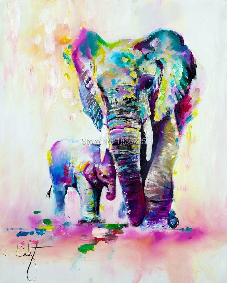 Frameless Opere D'arte Dipinte A Mano di Alta Qualità Moderna di Arte Della Parete Su Tela di Canapa Pittura A Olio Animale Simpatico Elefante Appendere Quadri Arredamento Della Camera
