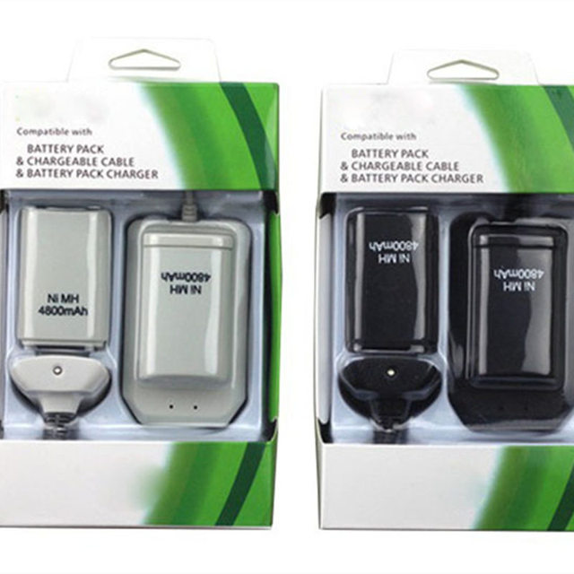 2 Batteries+1 Charger+1 Usb Cable For Xbox 360 Wireless Controller Black White Rechargeable 4800mah Ni-MH Battery Pack