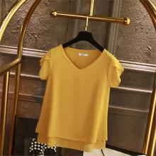 YUANYU Fashion Brand Women Chiffon Shirt 2019 Summer Short sleeve V-neck Blouse Casual 9 Solid color Loose obesity Lady Tops цена