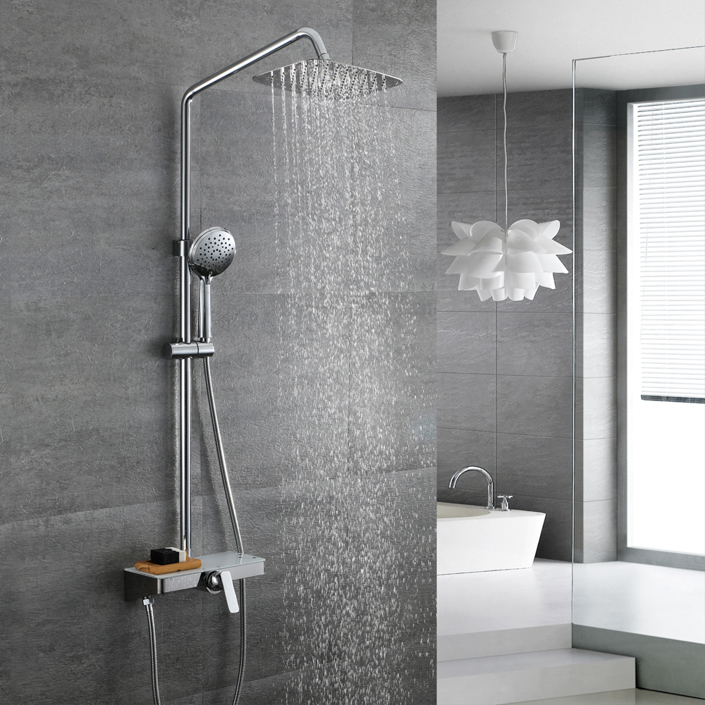 HIDEEP Chrome Brass Shower Faucet Wall Mount Handle Spray Bathroom Shower Set Tub Faucet Mixer Tap Rainfall Shower Set