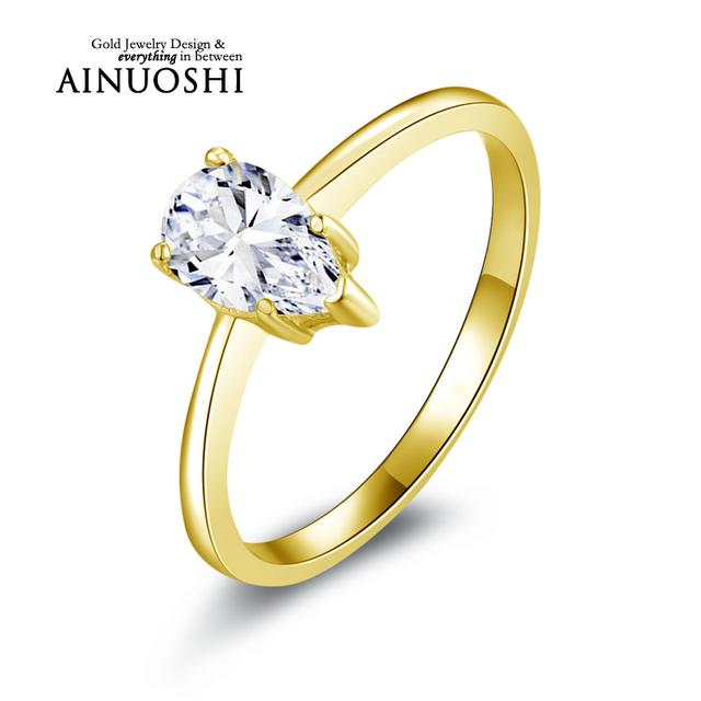 Ainuoshi 10 k sólido oro amarillo mujeres anillos de compromiso clásicos simulted pear cut anillos de diamantes 1 ct solitario boda de la señora anillo