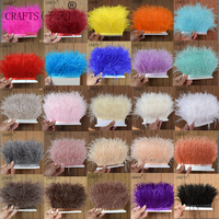 New! Wholesale high quality 10 meters ostrich feather ribbon, feather length 8 10cm / DIY clothing accessories