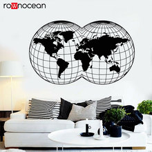 Newest Design World Map Wall Stickers Round-shaped Map Earth Geography Peace Vinyl Decal Mural Nautical Decor 3146 цена и фото