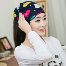 Fashion Women Cute Colorful Heart Beanies Spring Women Beanie Autumn Winter Hats For Women Multifunction Scarf Letter Cap(China)