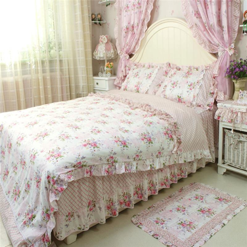 4pcsset pastoral vintage bedding set for wedding decoration bedding princess ruffle duvet cover elegant flower print bed skirt in bedding sets from home - Vintage Bedding