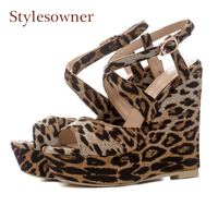 Stylesowner 2018 new wedge high heels women sandals print leopard buckle strap fashion platform casual shoes sexy lady sandals