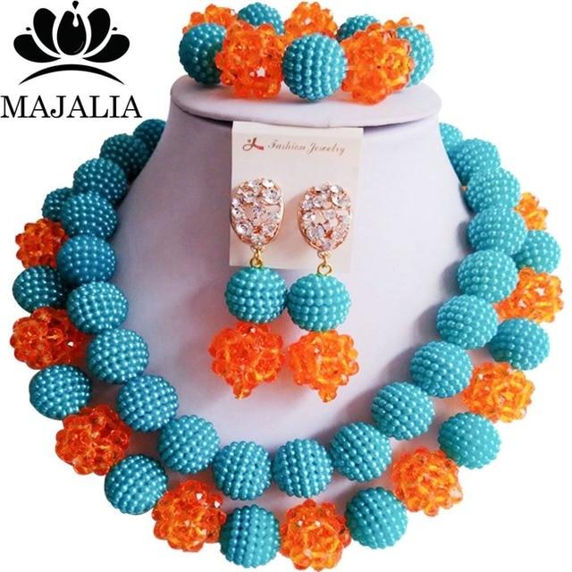 649c90591001 Conocida majalia moda Nigeria boda Africana azul y naranja plástico cristal  collar de perlas de novia