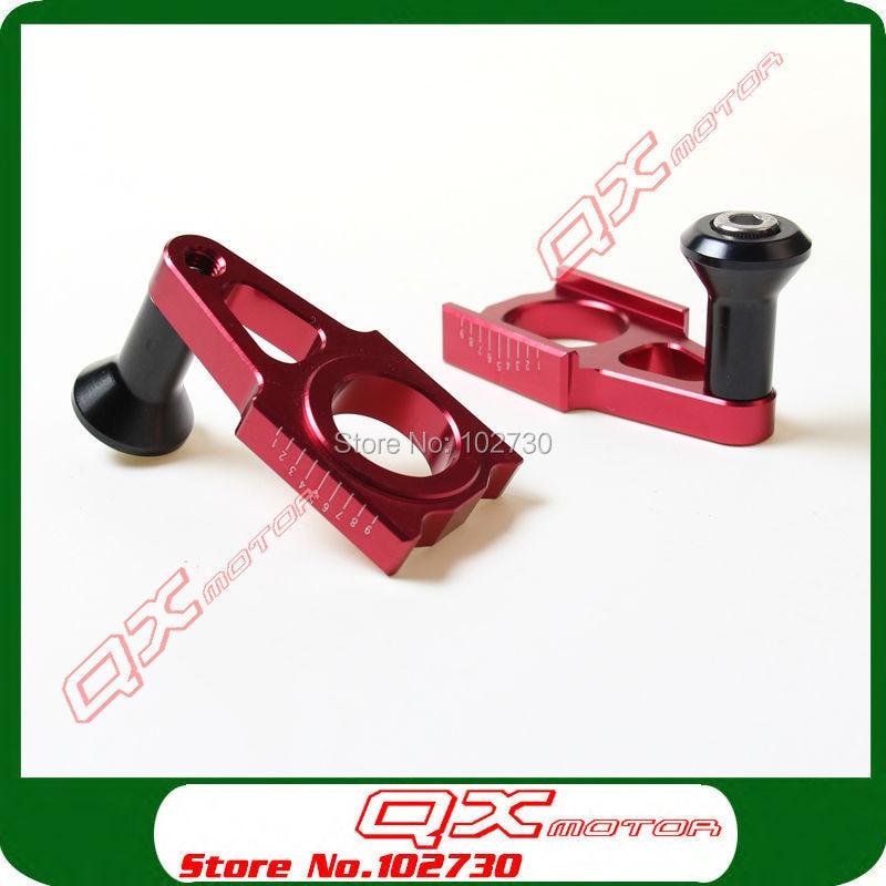 CNC Aluminum Rear Chain Adjuster Axle blocks wth Bike Stand For CRF CR125 250R CRF250R 250X 450R 450X Dirt Bike Motocross