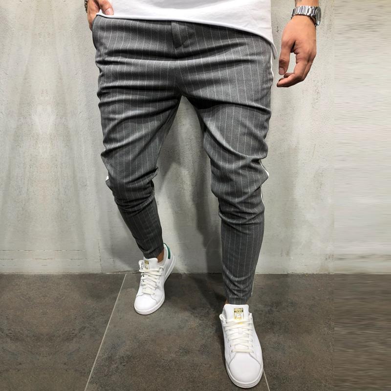 Fashion Joggers Pants Men Casual Slim Fit Street Men's Ankle Pants Streetwear Side Stripes Checkered Trousers