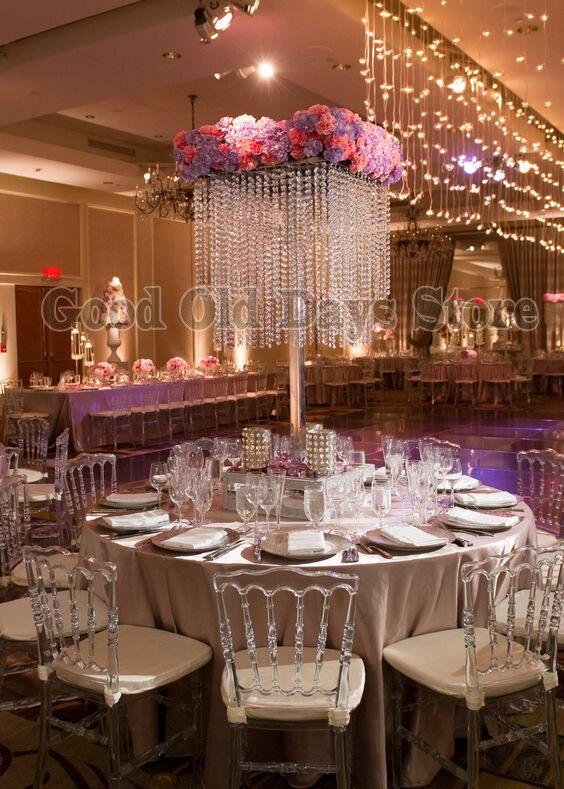 Pièce maîtresse de table carrée en cristal de 80 cm de haut avec perles brins fleur Stand décoration de mariage 10 pcs/lot