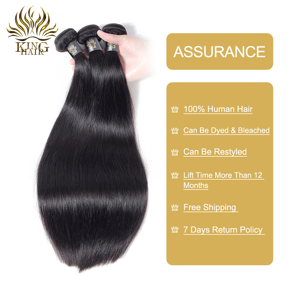 King Hair Brazilian Hair Straight 3 Bundles With Snap Closure 4PCS - Mänskligt hår (svart) - Foto 4