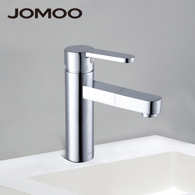 JOMOO Deck Mounted Brass Basin Faucet Water Outlet Hole 360-degree Rotate Water Tap Single Handle Single Hole Hot and Cold Mixer micoe brass faucet single handle single hole kitchen faucet double nozzle water mixer chrome hot and cold water rotating faucet