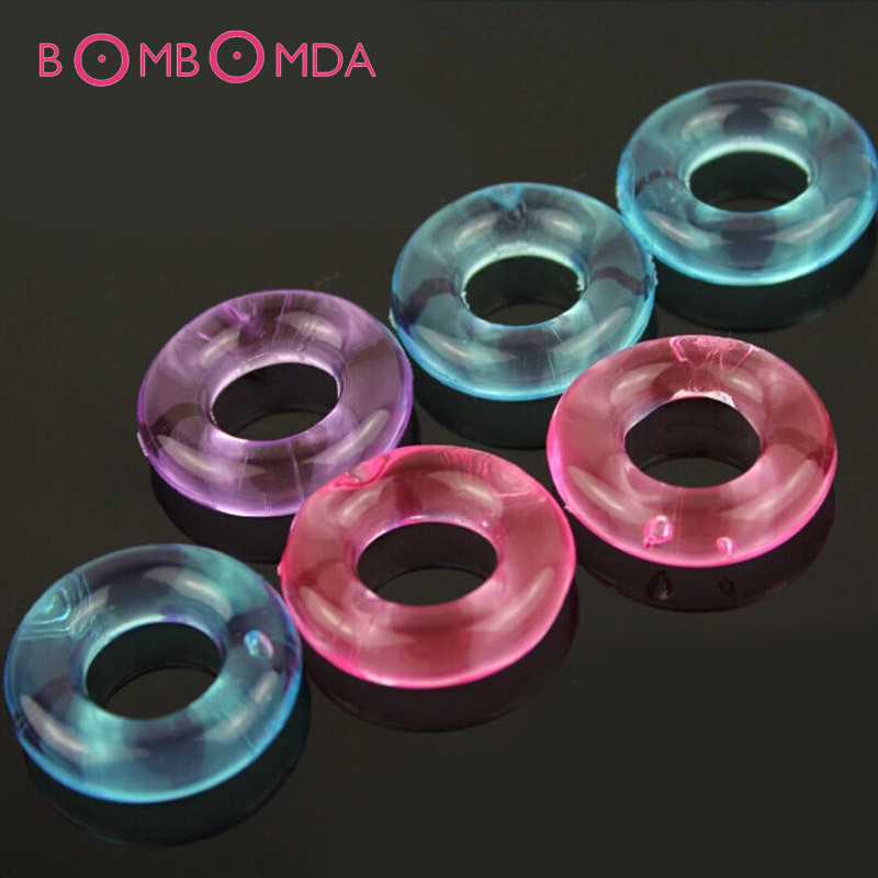 5PCS Penis Rings Set Crystal Ejaculation Delay Cockring Silicone Cock Erection Ring Stretcher Erotic Adult Sex Toys For Men Male