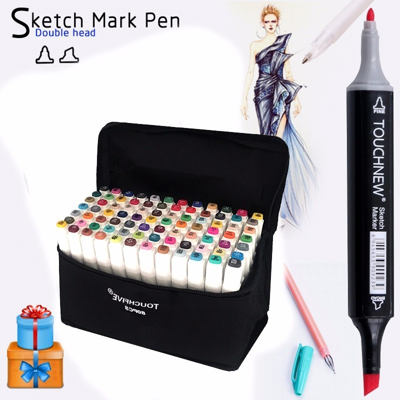 TouchFive Full 168 colors Black body Art Marker Sketch Markers Alcohol Marker Set For Manga School Office Supplies touchfive 168 colors art marker set double headed sketch alcohol based marker pen paint manga art markers art supplies
