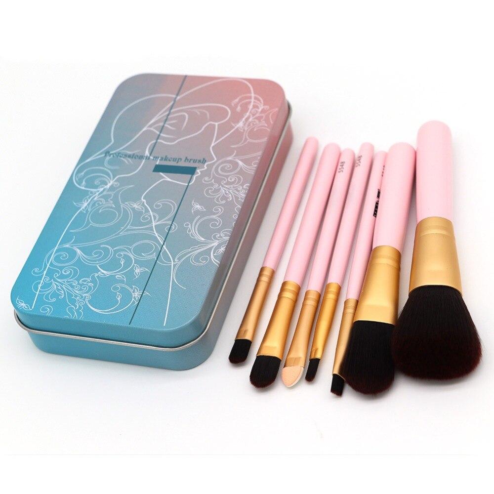 7pcs portable makeup brush loose powder foundation eye shadow eyebrow lip sponge brush complete professional makeup kit