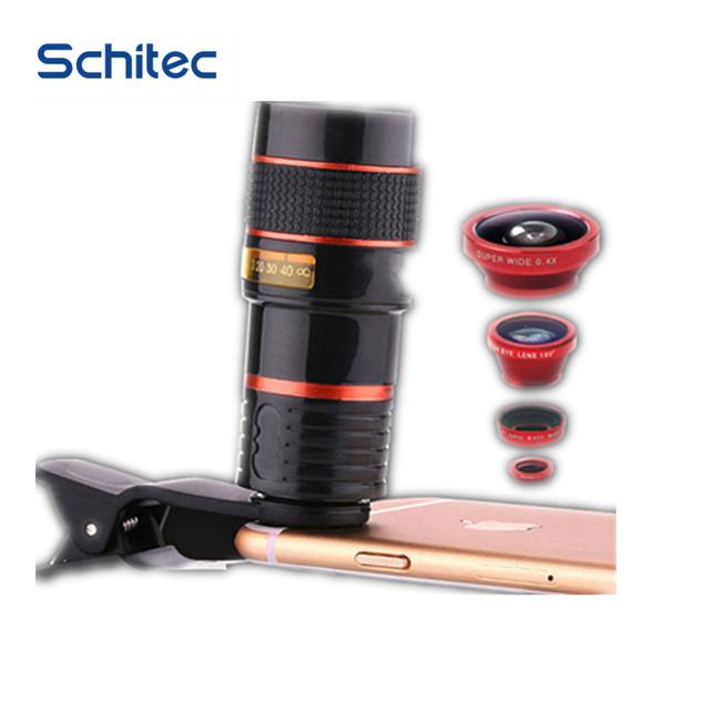 4 em 1 Lente Do Telefone Móvel 12X Telefoto + 0,65X Wide ângulo + 8X lentes Macro + 180 Graus Fisheye lente Olho de Peixe Universal para smartphones