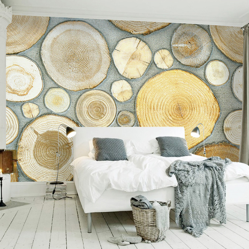 Nordic Style Creative Art Mural Wall Paper 3D Stereoscopic Wood Grain Annual Rings Fashion Background Decoration Wall Painting