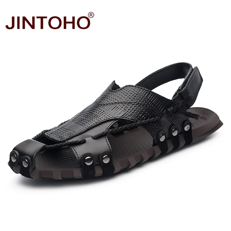 JINTOHO Big Size Genuine Leather Men Sandals Shoes Summer Men Beach Shoes Fashion Male Sandal Summer Leather Sandals Slippers