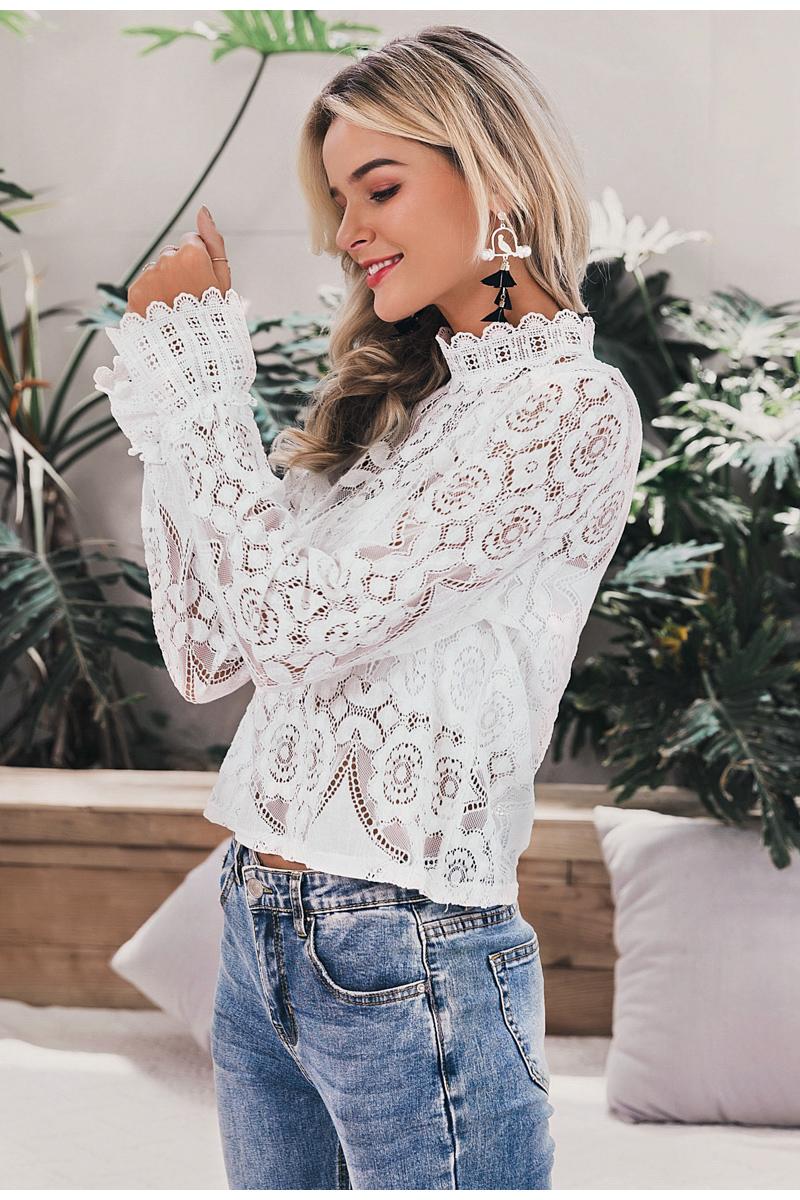Simplee Elegant white lace blouse shirt Sexy hollow out embroidery feminine blouse Women long lantern sleeve summer tops female 12