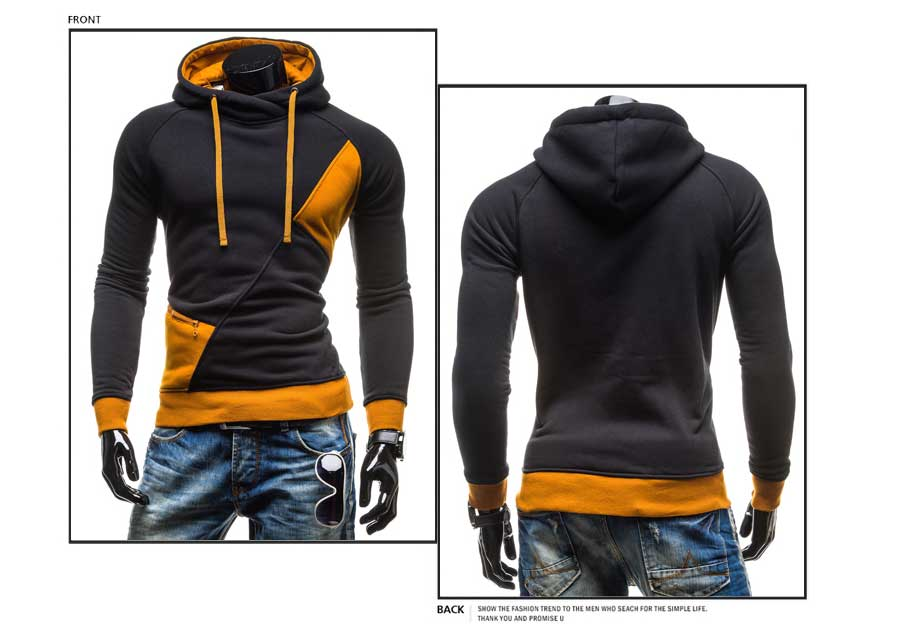 spring and autumn new hoodie men's matching color patchwork jumper Korean version of men's coat 18
