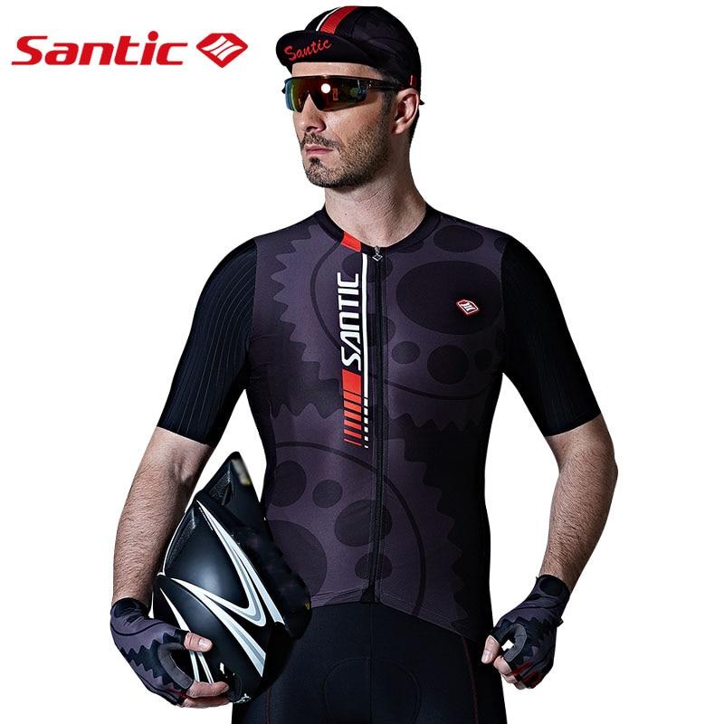 Santic Men Cycling Jersey Short Sleeve Pro Fit Top SANTIC N-FEEL Antislip Silica Hem Road Bike MTB Riding Shirt