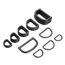50Pcs Plastic Black D Ring Buckles Backpack Straps Luggage Bags Handbag Hook  Clasp Clip Sewing Accessories 20/25/32/38/48mm