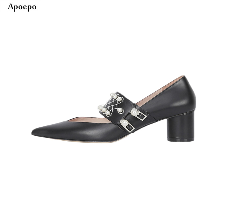 Apoepo 2018 Newest Woman Pointed Toe High Heel Shoes Sexy Black Leather Pearls Beaded Thick Heels Pumps Dress Shoes