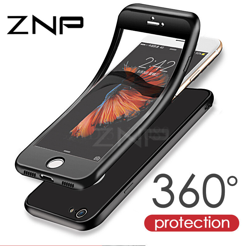 ZNP Luxury Soft TPU Silicone 360 Full Cover Cases For iPhone 7 6s 6 case 5 5s SE Cover Cases for iPhone 6 7 Plus case with glass