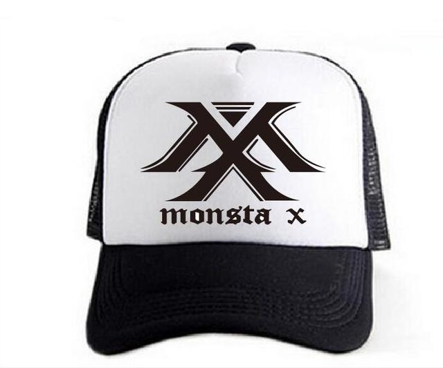1f9a83527caa84 2017 new kpop MONSTA X hat hat summer Breathable baseball cap Black and  white mixed colors and leisure cap Mountaineering