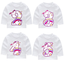 Kid Happy Birthday Unicorn Number 1-9 Bow Long Sleeve T-shirts Autumn Boy Girl Toddler Top Present Gift