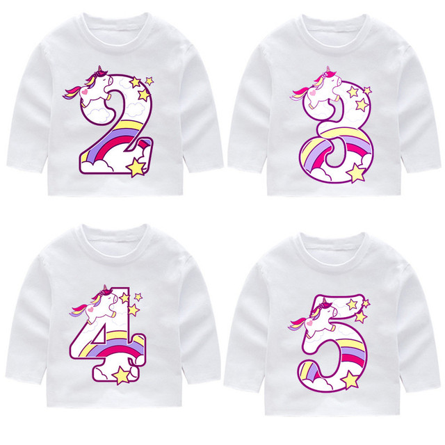 Kid Happy Birthday Unicorn Number 1 9 Bow Long Sleeve T Shirts Autumn Boy