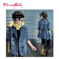 Girl Long Jacket In Korean Style Fashion High Quality Washed Demin Coat Baby Girl Clothes For