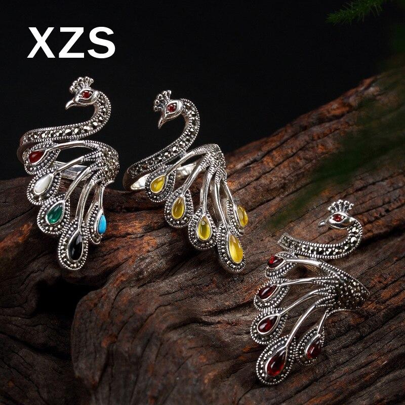 100% authentique 925 argent Sterling calcédoine paon anneaux chine Style Vintage fait à la main pour les femmes de luxe cadeau bijoux JZC-8058