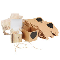 50pcs Kraft Brown Heart Rustic Candy Gift Boxes With Rope Wedding Favor Spades Heart