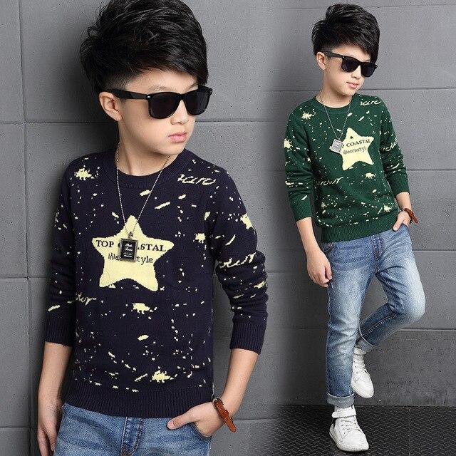 Осенние детская одежда нова письмо рукав вязать свитер с топ модные подростки свитер WER18