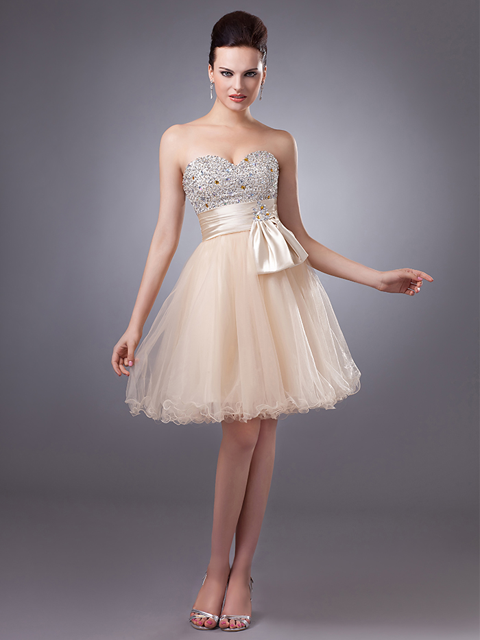 New Hot A line Short Champagne Prom font b Dresses b font Sweetheart Beading Tulle font