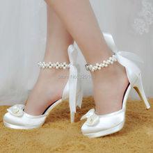 Women Shoes White Ivory High Heel Round Toe Platform Ankle Strap Wedding Bridal Shoes Satin Bride Bridesmaids Prom Pumps EP11074