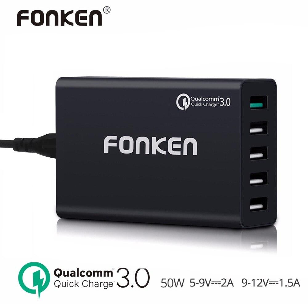 FONKEN USB Chargeur Charge Rapide 3.0 Certifié 5 Port 50 W rapide Chargeur Station Smart IC Charge Rapide QC3.0 QC2.0 pour Smartphone