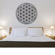 Flower Of Life Wall Decal Geometry Style Sticker Home Decor Flowers of Vinyl Mural Bedroom Wallpaper MTL12